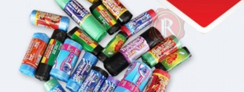 В продаже разноцветные мусорные пакеты